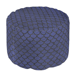 SCALES1 BLACK MARBLE & BLUE LEATHER (R) POUF