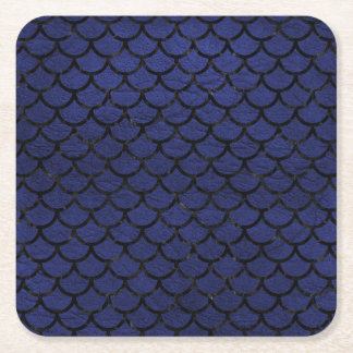 SCALES1 BLACK MARBLE & BLUE LEATHER (R) SQUARE PAPER COASTER