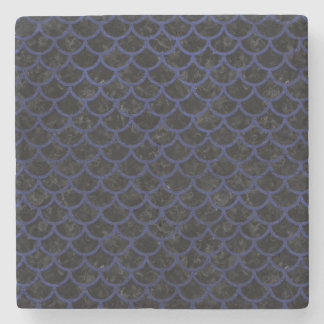 SCALES1 BLACK MARBLE & BLUE LEATHER STONE COASTER