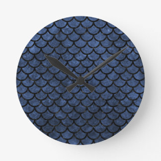 SCALES1 BLACK MARBLE & BLUE STONE (R) CLOCK