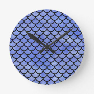 SCALES1 BLACK MARBLE & BLUE WATERCOLOR (R) ROUND CLOCK
