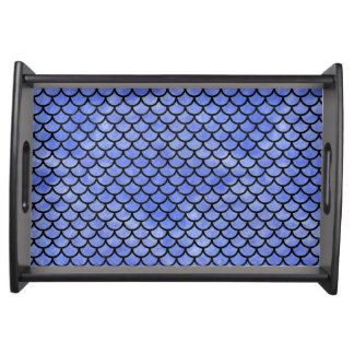 SCALES1 BLACK MARBLE & BLUE WATERCOLOR (R) SERVING TRAY