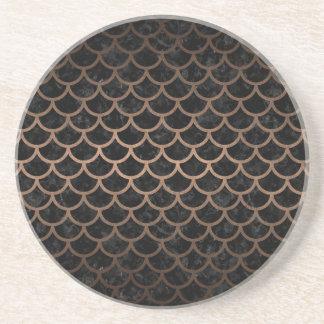 SCALES1 BLACK MARBLE & BRONZE METAL COASTER