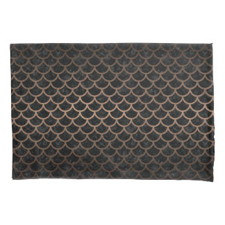 SCALES1 BLACK MARBLE & BRONZE METAL PILLOWCASE