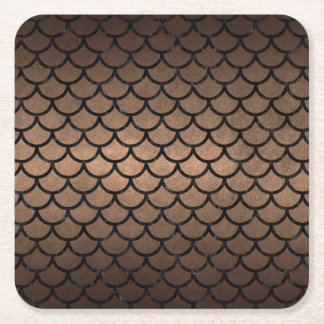 SCALES1 BLACK MARBLE & BRONZE METAL (R) SQUARE PAPER COASTER