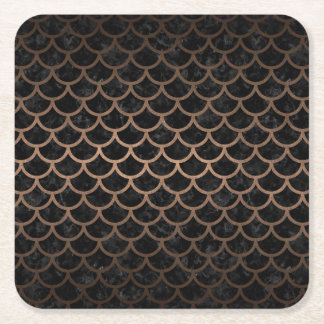 SCALES1 BLACK MARBLE & BRONZE METAL SQUARE PAPER COASTER