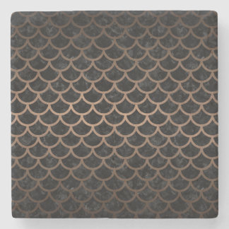 SCALES1 BLACK MARBLE & BRONZE METAL STONE COASTER