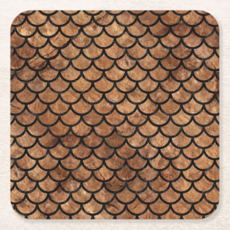 SCALES1 BLACK MARBLE & BROWN STONE (R) SQUARE PAPER COASTER