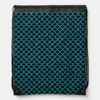 SCALES1 BLACK MARBLE & TURQUOISE MARBLE DRAWSTRING BAG