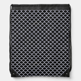 SCALES1 BLACK MARBLE & WHITE MARBLE DRAWSTRING BAG