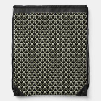 SCALES2 BLACK MARBLE & BEIGE LINEN DRAWSTRING BAG