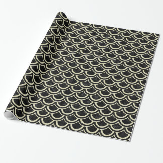 SCALES2 BLACK MARBLE & BEIGE LINEN WRAPPING PAPER