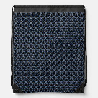 SCALES2 BLACK MARBLE & BLUE DENIM DRAWSTRING BAG