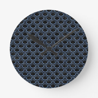 SCALES2 BLACK MARBLE & BLUE DENIM ROUND CLOCK