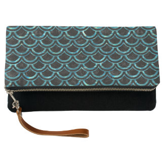 SCALES2 BLACK MARBLE & BLUE-GREEN WATER CLUTCH