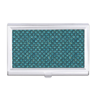 SCALES2 BLACK MARBLE & BLUE-GREEN WATER (R) BUSINESS CARD HOLDER