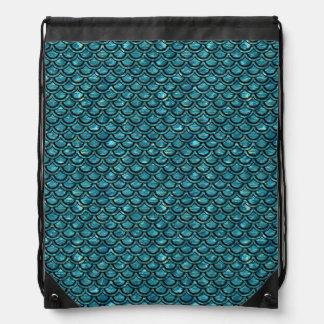 SCALES2 BLACK MARBLE & BLUE-GREEN WATER (R) DRAWSTRING BAG
