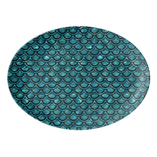 SCALES2 BLACK MARBLE & BLUE-GREEN WATER (R) PORCELAIN SERVING PLATTER
