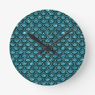 SCALES2 BLACK MARBLE & BLUE-GREEN WATER (R) ROUND CLOCK