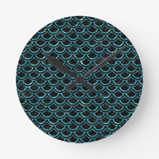 SCALES2 BLACK MARBLE & BLUE-GREEN WATER ROUND CLOCK