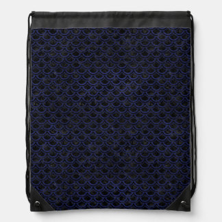 SCALES2 BLACK MARBLE & BLUE LEATHER DRAWSTRING BAG