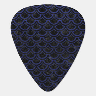 SCALES2 BLACK MARBLE & BLUE LEATHER GUITAR PICK