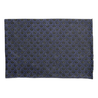 SCALES2 BLACK MARBLE & BLUE LEATHER PILLOWCASE