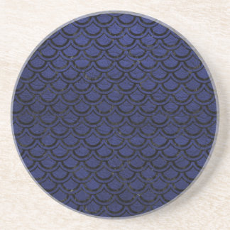 SCALES2 BLACK MARBLE & BLUE LEATHER (R) COASTER