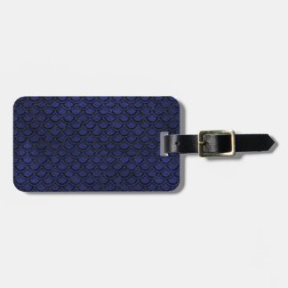 SCALES2 BLACK MARBLE & BLUE LEATHER (R) LUGGAGE TAG