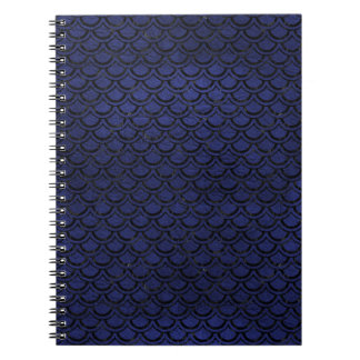 SCALES2 BLACK MARBLE & BLUE LEATHER (R) SPIRAL NOTEBOOK
