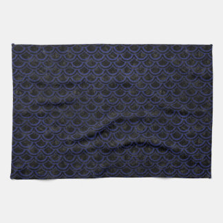 SCALES2 BLACK MARBLE & BLUE LEATHER TOWELS