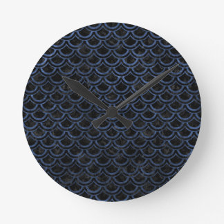 SCALES2 BLACK MARBLE & BLUE STONE ROUND CLOCK