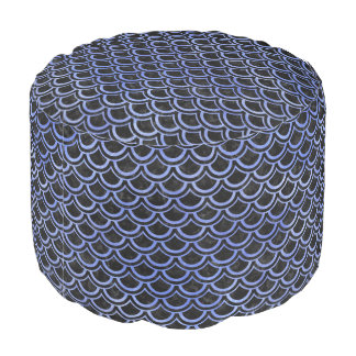 SCALES2 BLACK MARBLE & BLUE WATERCOLOR POUF