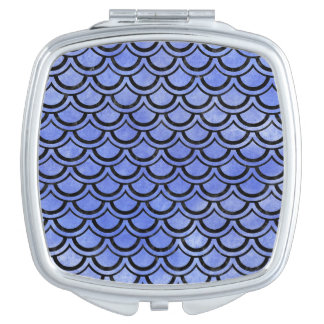 SCALES2 BLACK MARBLE & BLUE WATERCOLOR (R) COMPACT MIRROR