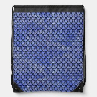 SCALES2 BLACK MARBLE & BLUE WATERCOLOR (R) DRAWSTRING BAG