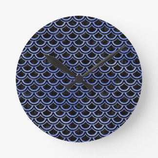 SCALES2 BLACK MARBLE & BLUE WATERCOLOR ROUND CLOCK