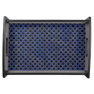 SCALES2 BLACK MARBLE & BLUE WATERCOLOR SERVING TRAY