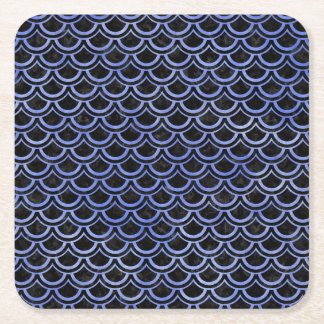 SCALES2 BLACK MARBLE & BLUE WATERCOLOR SQUARE PAPER COASTER