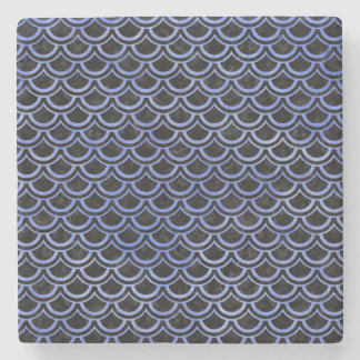 SCALES2 BLACK MARBLE & BLUE WATERCOLOR STONE COASTER