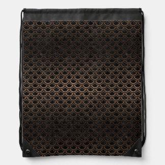 SCALES2 BLACK MARBLE & BRONZE METAL DRAWSTRING BAG