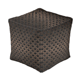 SCALES2 BLACK MARBLE & BRONZE METAL POUF