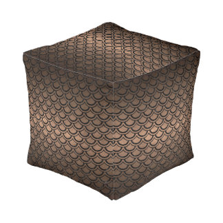 SCALES2 BLACK MARBLE & BRONZE METAL (R) POUF