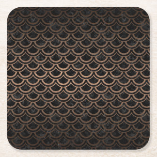 SCALES2 BLACK MARBLE & BRONZE METAL SQUARE PAPER COASTER