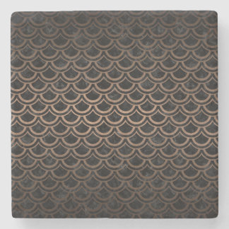 SCALES2 BLACK MARBLE & BRONZE METAL STONE COASTER