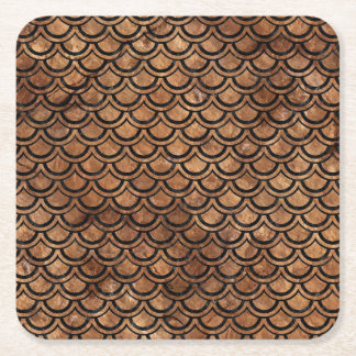 SCALES2 BLACK MARBLE & BROWN STONE (R) SQUARE PAPER COASTER