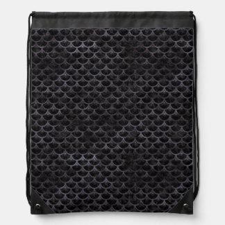 SCALES3 BLACK MARBLE & BLACK WATERCOLOR DRAWSTRING BAG