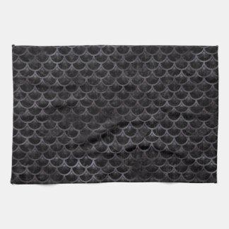 SCALES3 BLACK MARBLE & BLACK WATERCOLOR KITCHEN TOWEL
