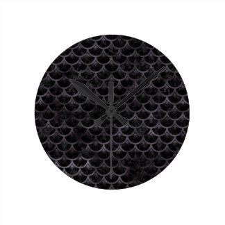 SCALES3 BLACK MARBLE & BLACK WATERCOLOR ROUND CLOCK