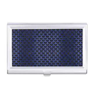 SCALES3 BLACK MARBLE & BLUE BRUSHED METAL BUSINESS CARD HOLDER