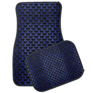 SCALES3 BLACK MARBLE & BLUE BRUSHED METAL CAR MAT